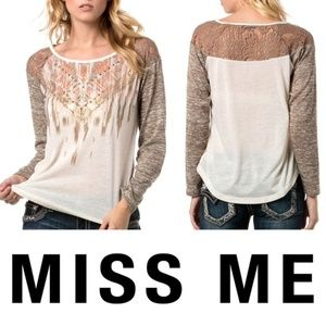 Miss Me Wild Ambition Long Sleeve Top Small Gold